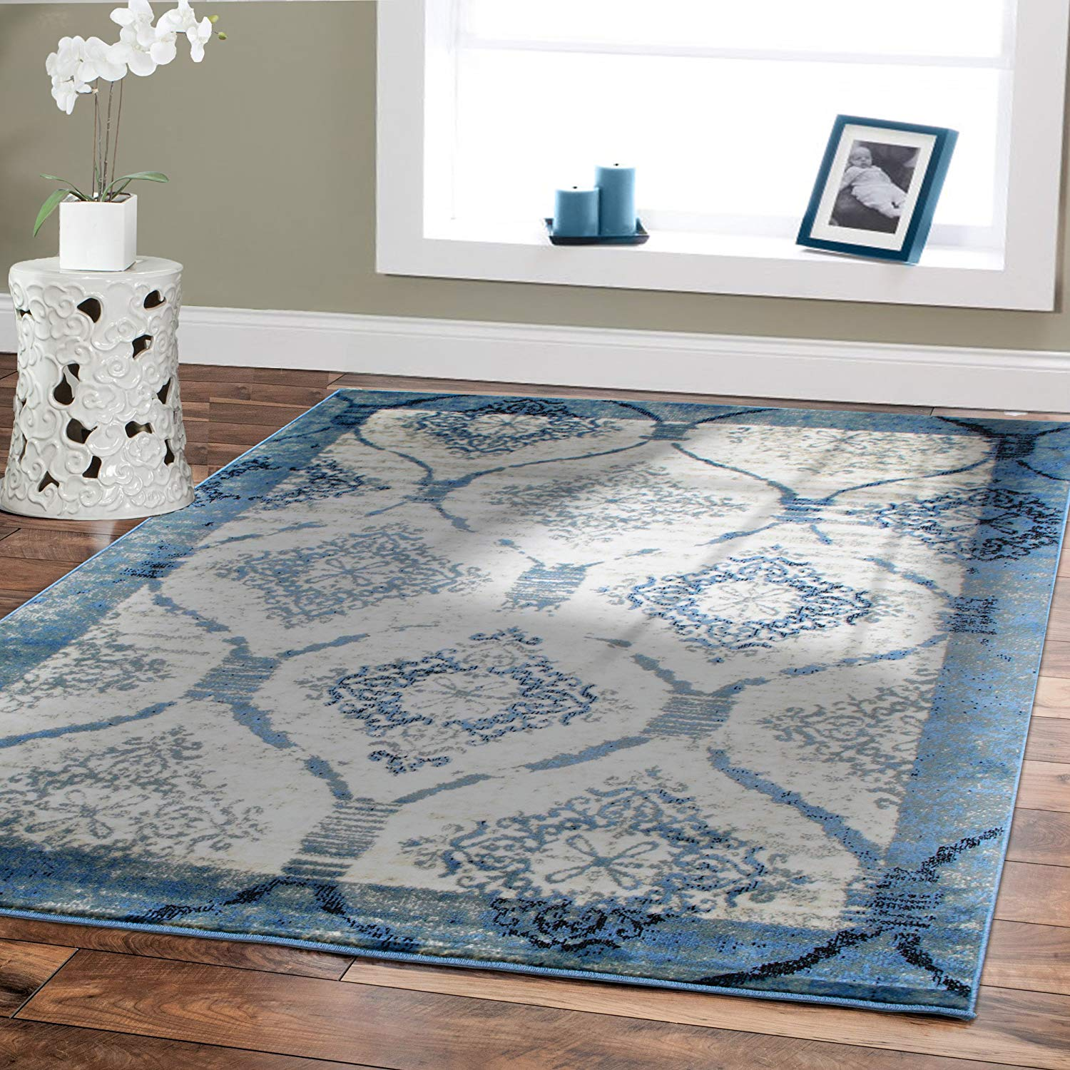 amazon.com: contemporary rugs for living room 5x8 blue area rug modern rugs JUZUGVK