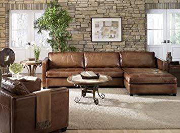 amazon.com: phoenix 100% full aniline leather sectional sofa with chaise  (vintage amaretto): RNSUMXE
