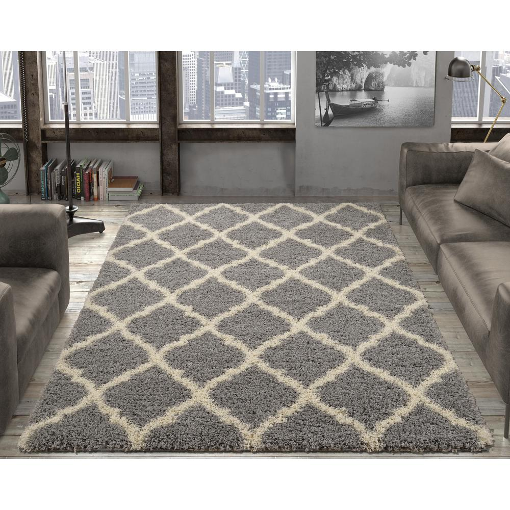 area rugs ottomanson ultimate shaggy contemporary moroccan trellis design grey 5 ft.  x 7 TZHTMEY