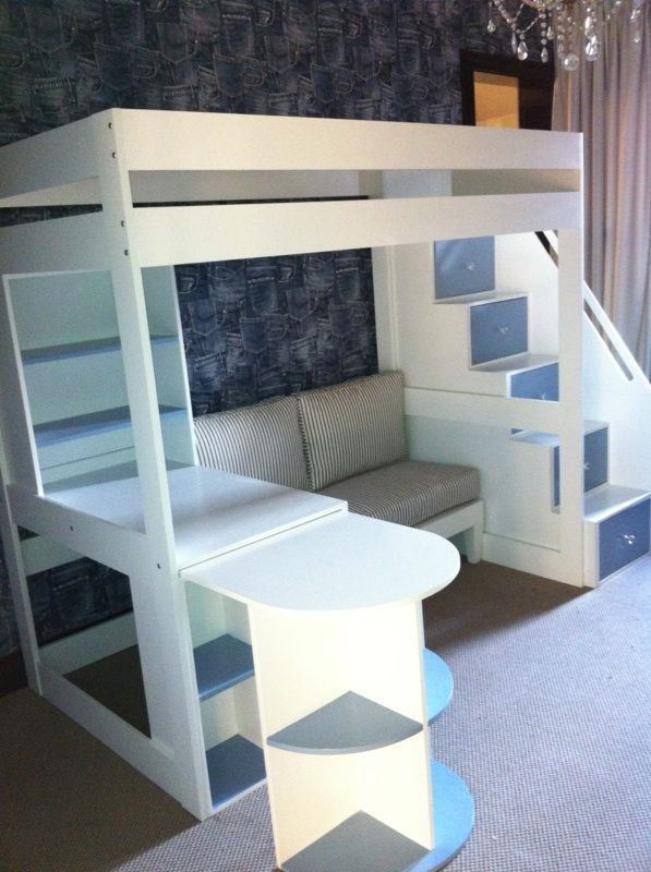 bed with sofa tween loft bed with pullout desk, sofa and multi functional stairs.  www.upsidaisycreations.co.za GKMHVFY