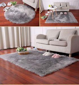 bedroom mats image is loading new-fluffy-plain-white-grey-sheep-skin-rug- CIRVCLA