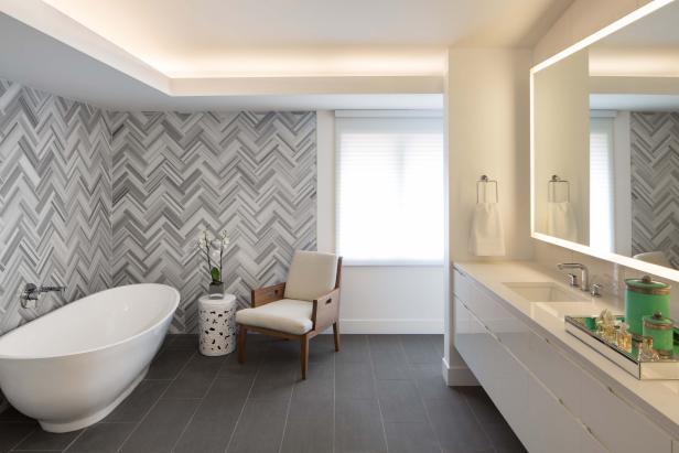best flooring ideas herringbone tile wall uplifts modern master bathroom LTZWPIX