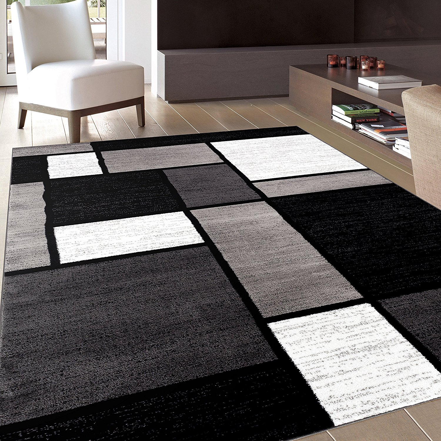 Best rug black and white area rugs amazon.com: rug decor contemporary modern boxes  area MEOUIBP