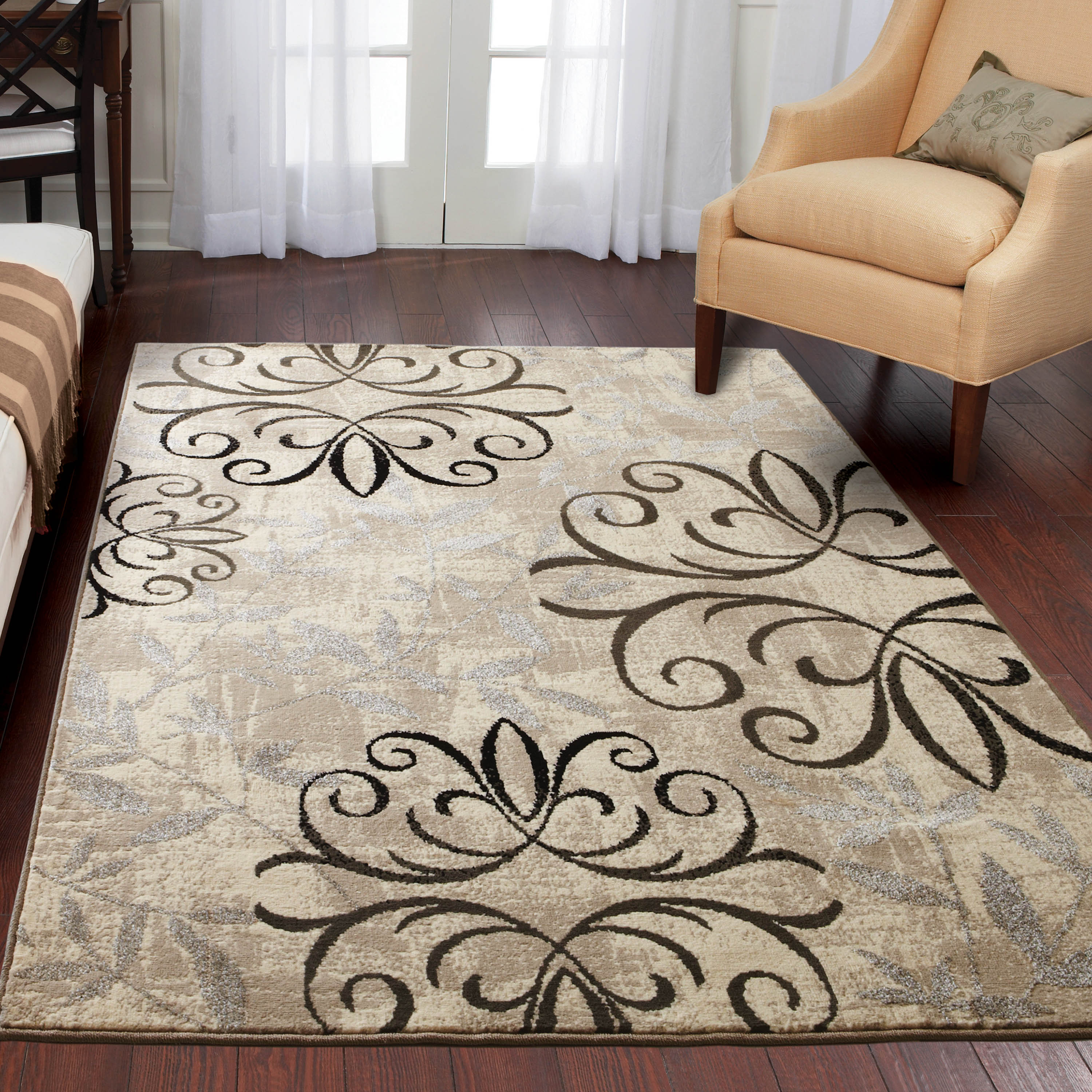 better homes and gardens iron fleur area rug or runner GIWQUUZ