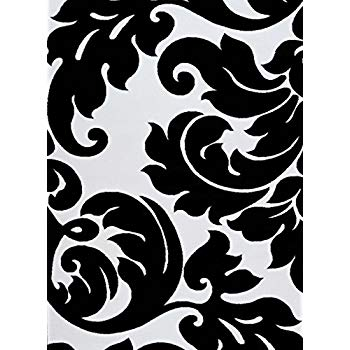 Black and white area rugs 3459 black white damask 5u00272 x 7u00272 modern abstract area rug carpet FRRQPGK