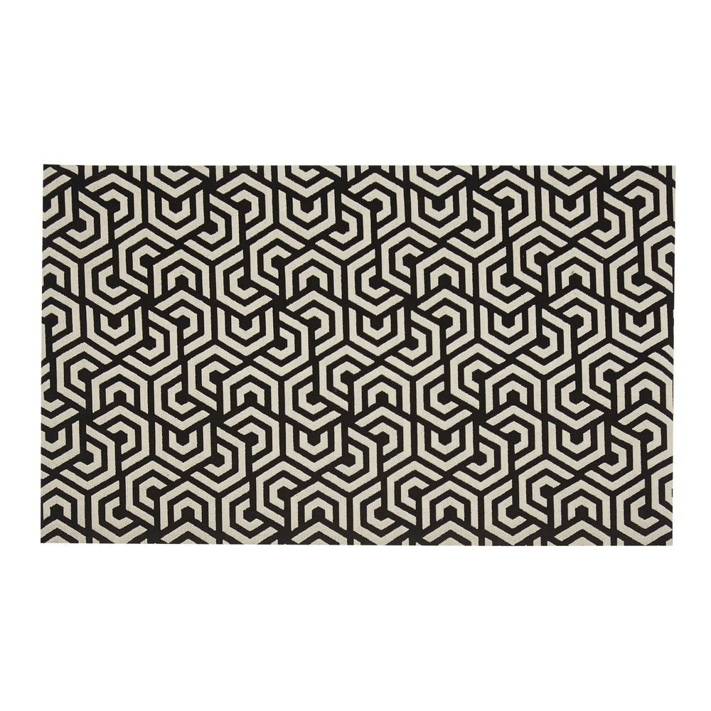 Black and white area rugs colonial black/white 2 ft. x 5 ft. indoor/outdoor runner rug FADFQHD