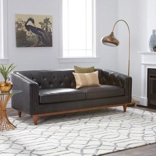 black leather sofas carson carrington natty black button-tufted leather sofa GQYWAAJ