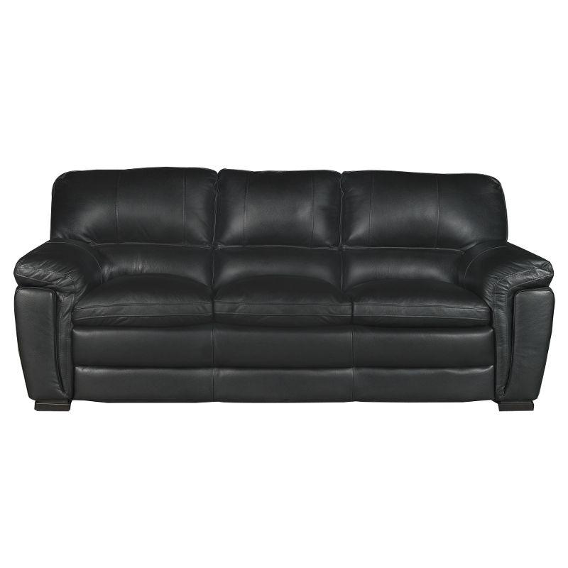 black leather sofas casual contemporary black leather sofa - tanner CCABEIM