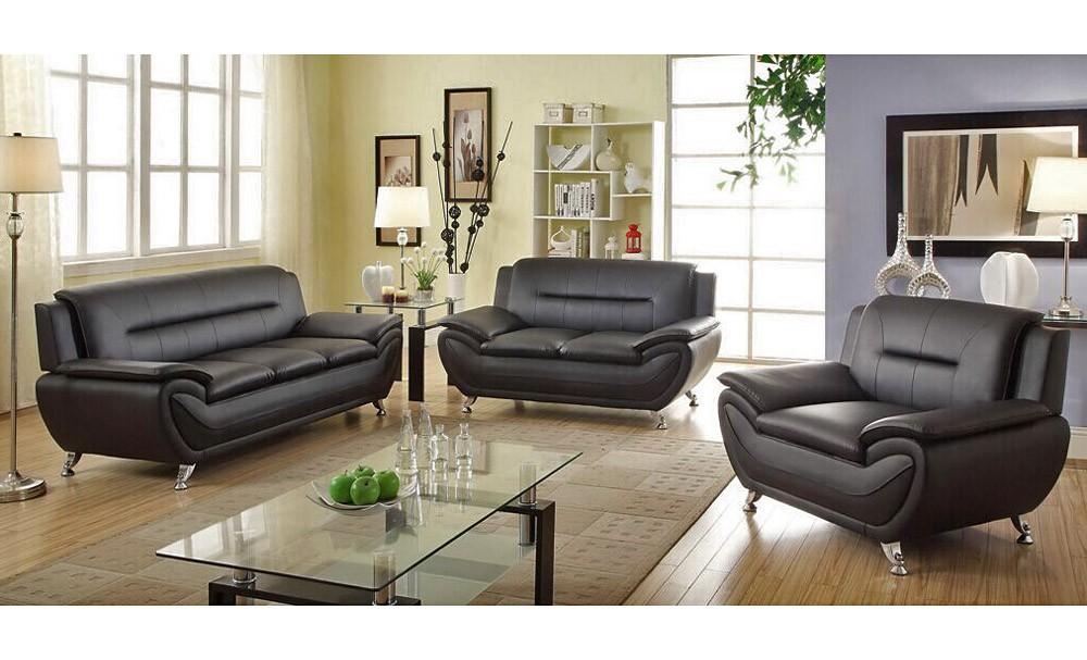 Trendy black leather sofas