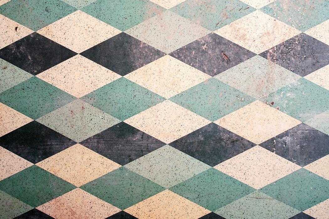 blue and teal linoleum floor PYHHDBO