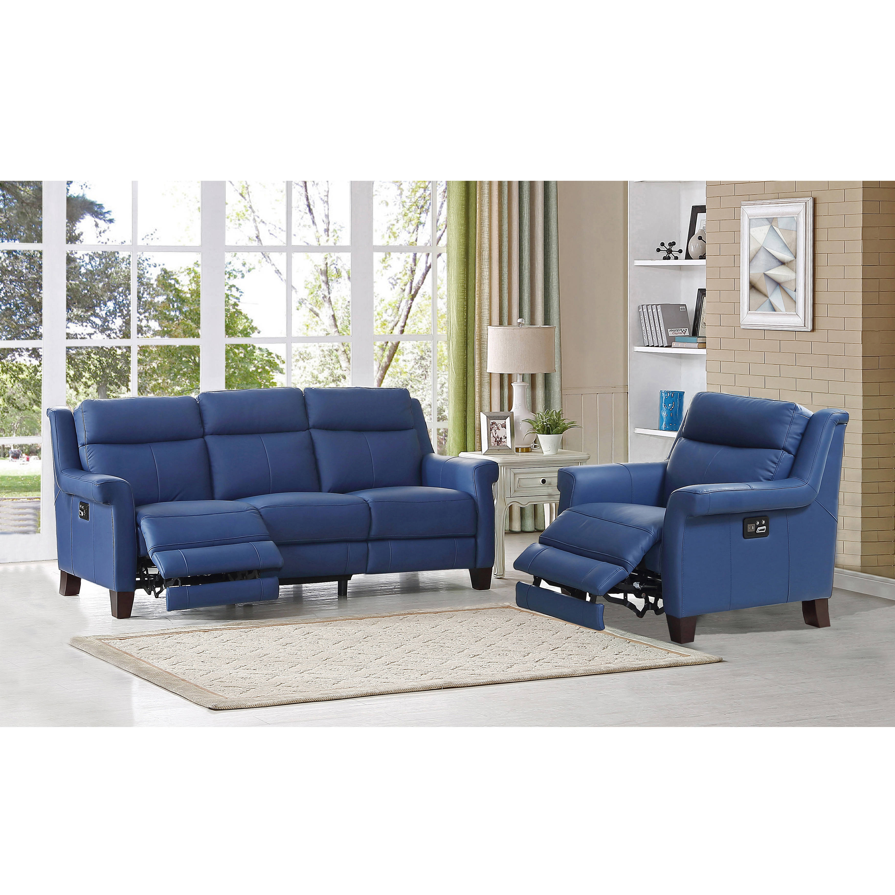 blue reclining sofa amax leather dolce blue power reclining sofa and recliner set | the classy UGDBXQF
