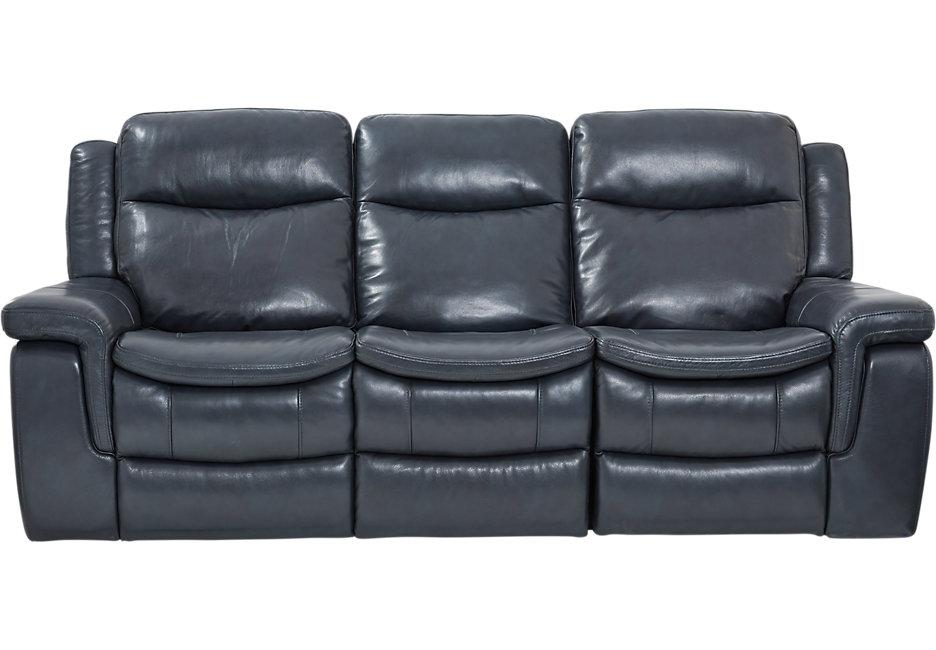 blue reclining sofa milano blue leather reclining sofa PQSYBWC