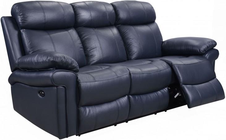blue reclining sofa shae joplin blue leather power reclining sofa VKEXKST