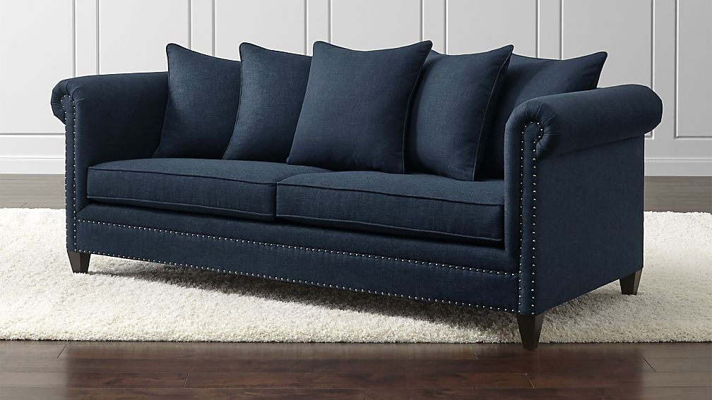 blue sofa durham navy blue couch with nailheads + reviews | crate and barrel QBCMLQB