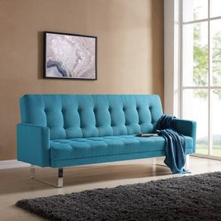 blue sofa handy living springfield turquoise blue linen click clack futon sofa bed GMGOZCA