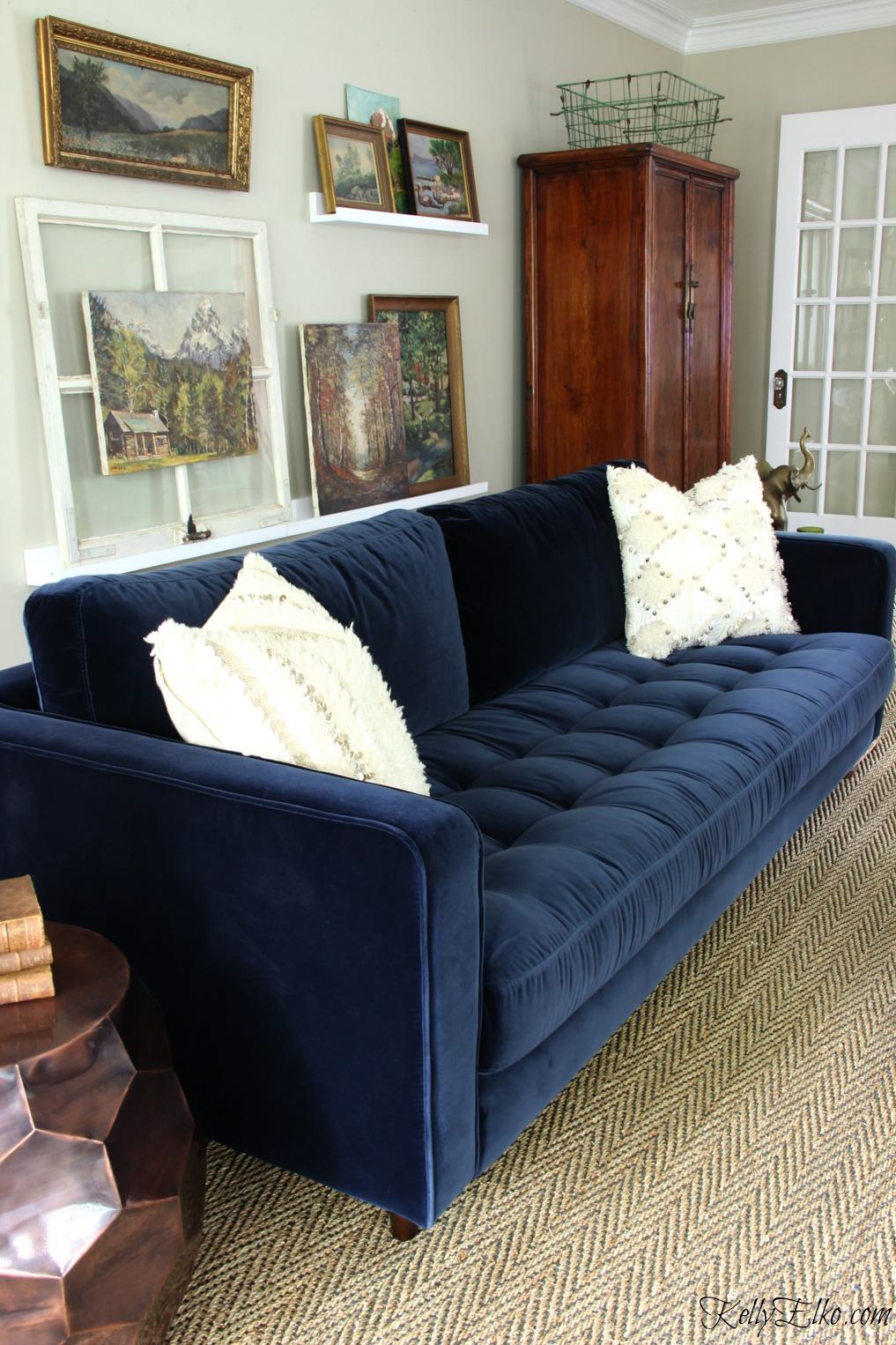 blue sofa love this gorgeous article sven sofa in navy blue velvet! kellyelko.com KSYCODK