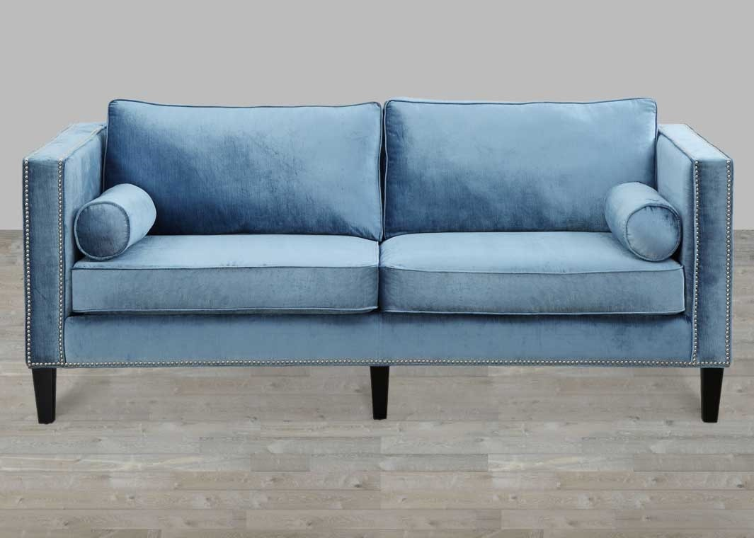 blue velvet sofa with nailheads TDIWGEA