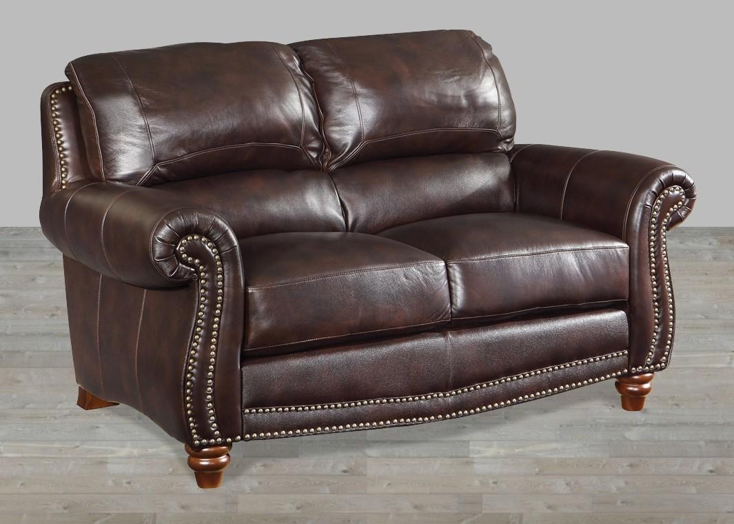 Brown leather loveseat brown leather loveseat with nailheads CMWSRUE