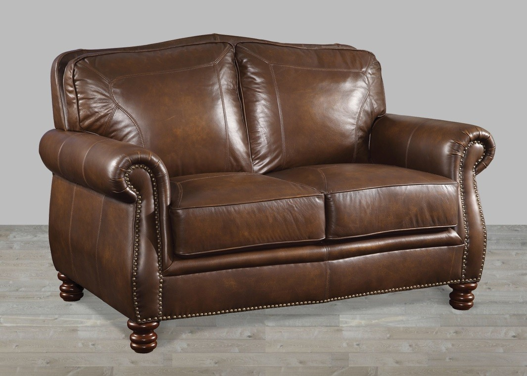 Brown leather loveseat for comfortable use