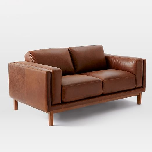 Brown leather loveseat detailed view; detailed view AUYLXCT