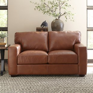 Brown leather loveseat save EEUCDAG