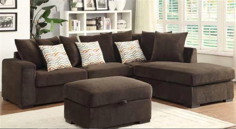 brown microfiber sectional sofa by coaster - 50044-b VTXKZQQ