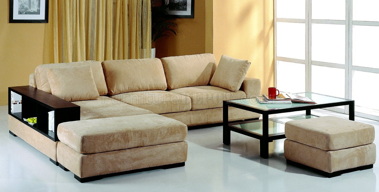 brown microfiber sectional sofa w/2 ottomans u0026 bookcase PIFOMIL