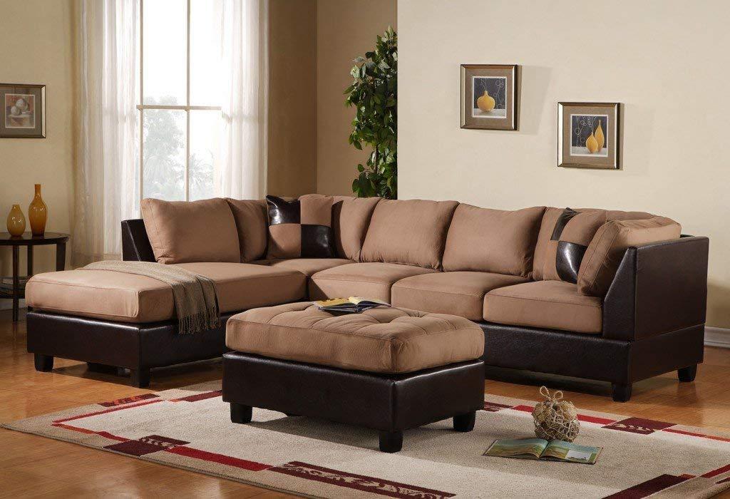 brown sectional sofa amazon.com: 3-piece modern reversible microfiber / faux leather sectional  sofa set w/ ELBAESX