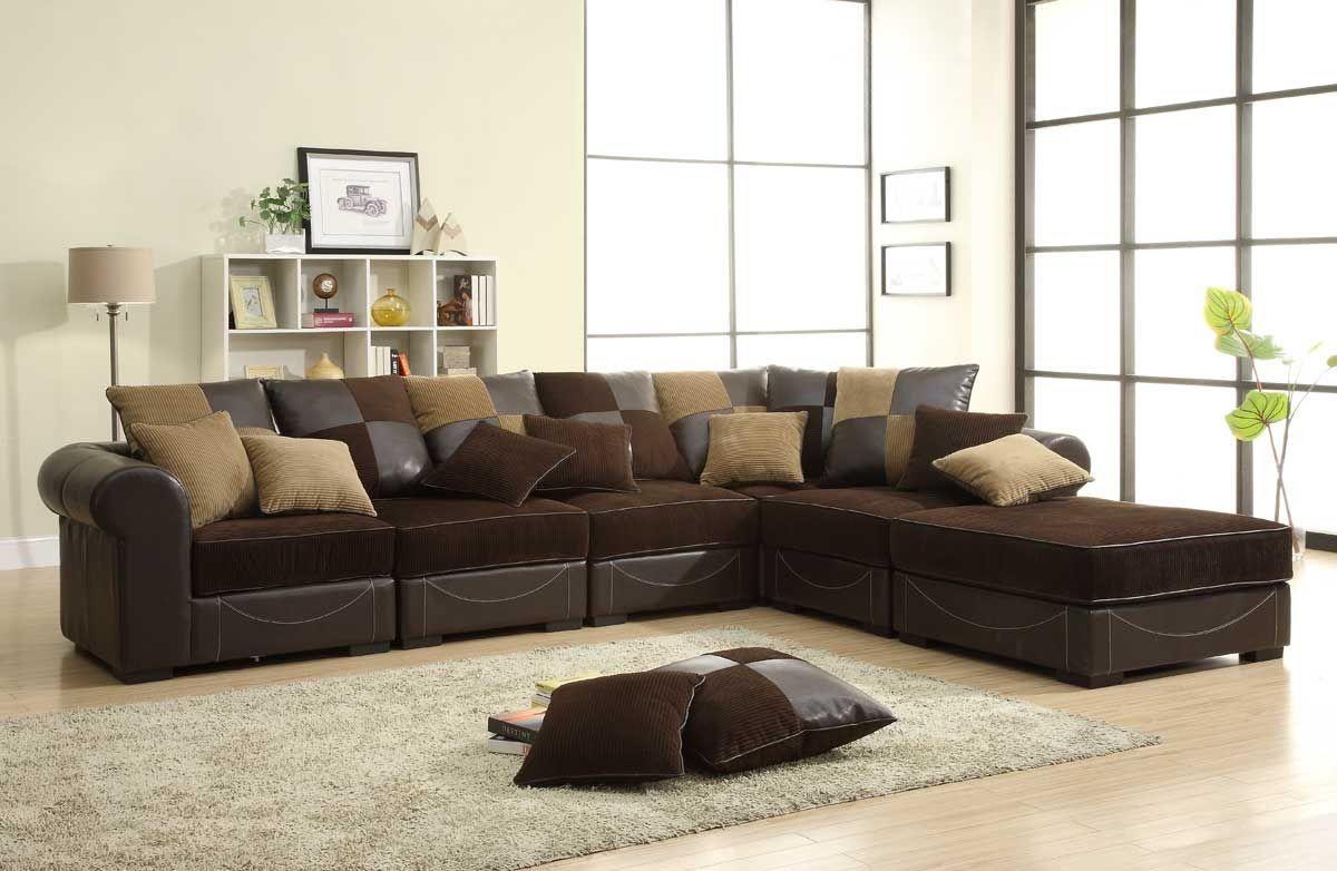 brown sectional sofa homelegance lamont modular sectional sofa set b - chocolate corduroy and  dark IDQNNXF