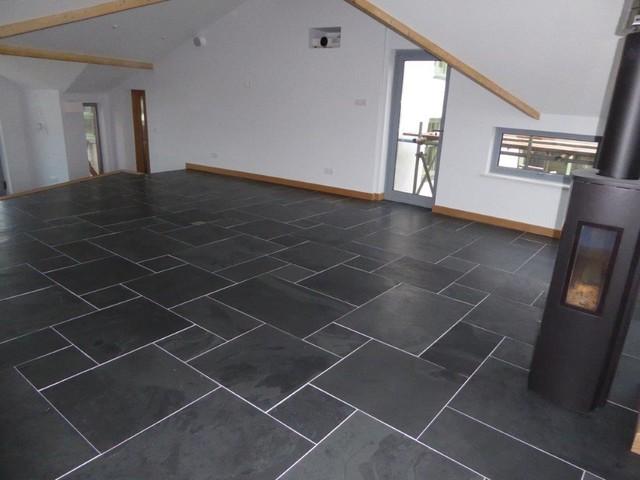 brushed black slate flooring modern ILWNWQN