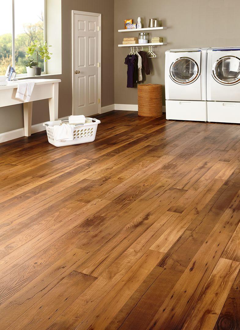 budget friendly flooring for your laundry room | warm oak vinyl flooring | ADIBVRG