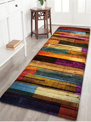 Carpet rugs -43% colorful stripes wood grain flannel rug YUDTOFM
