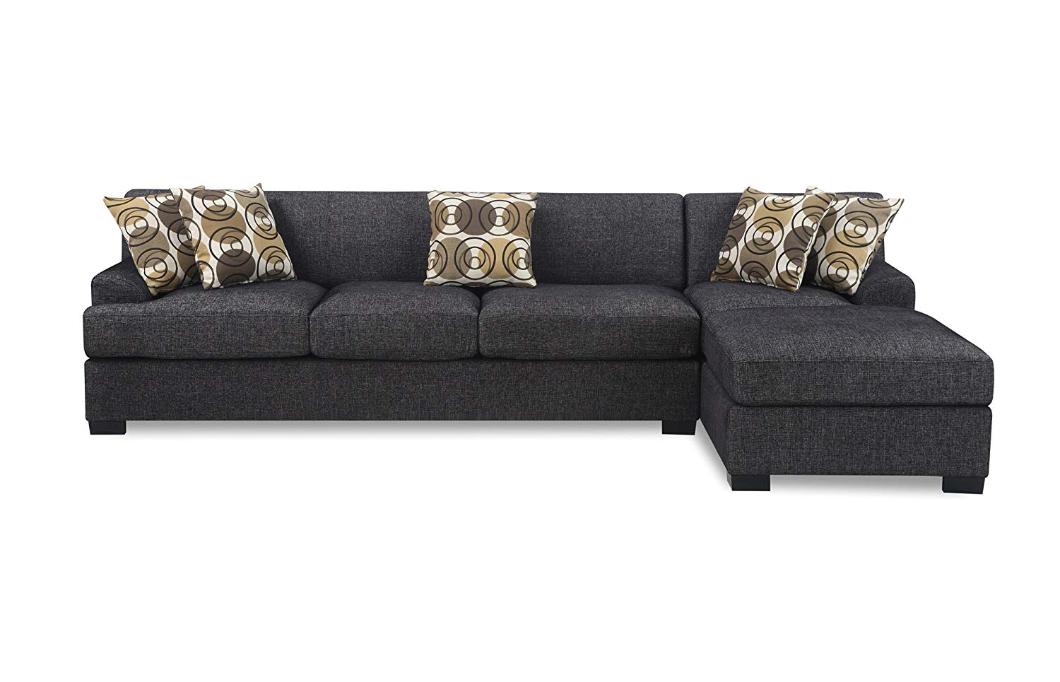 chaise couch amazon.com: bobkona benford 2-piece chaise loveseat sectional sofa  collection with faux linen, TJPCCMM