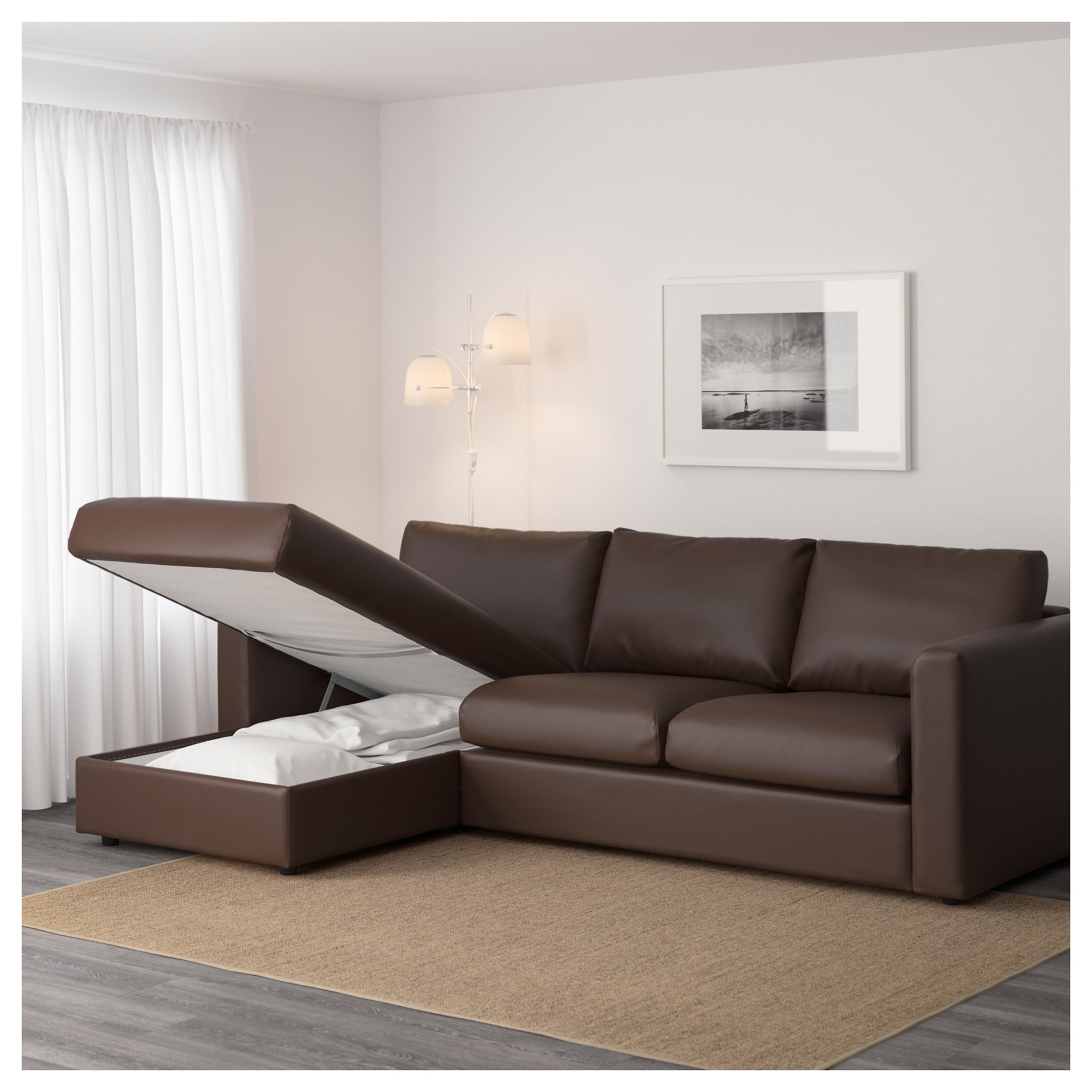 chaise couch vimle sofa - with chaise/gunnared medium gray - ikea URYHXAT