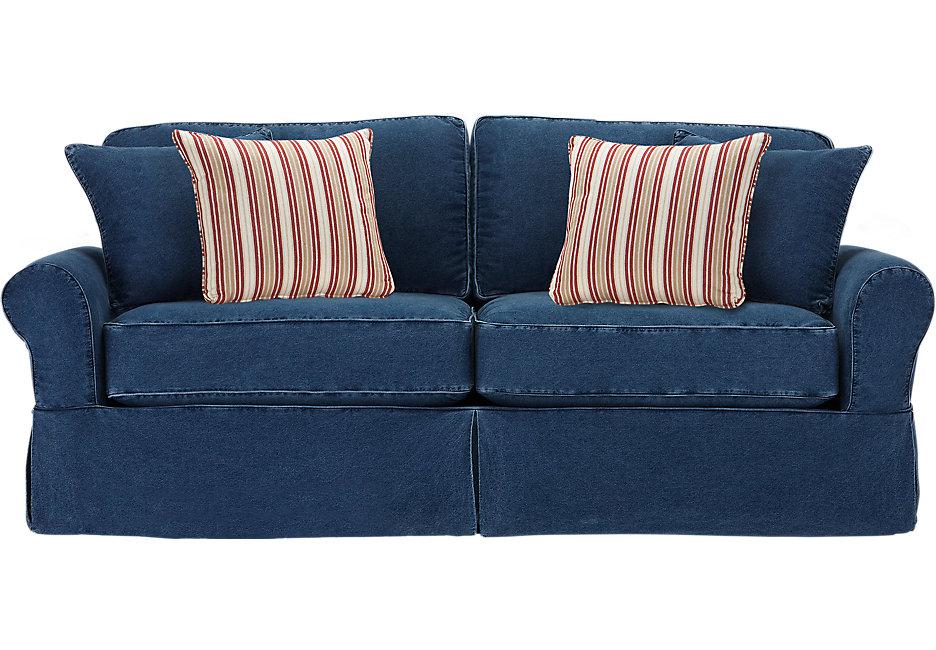 cindy crawford home beachside blue denim sofa - sofas (blue) SZDPHCM
