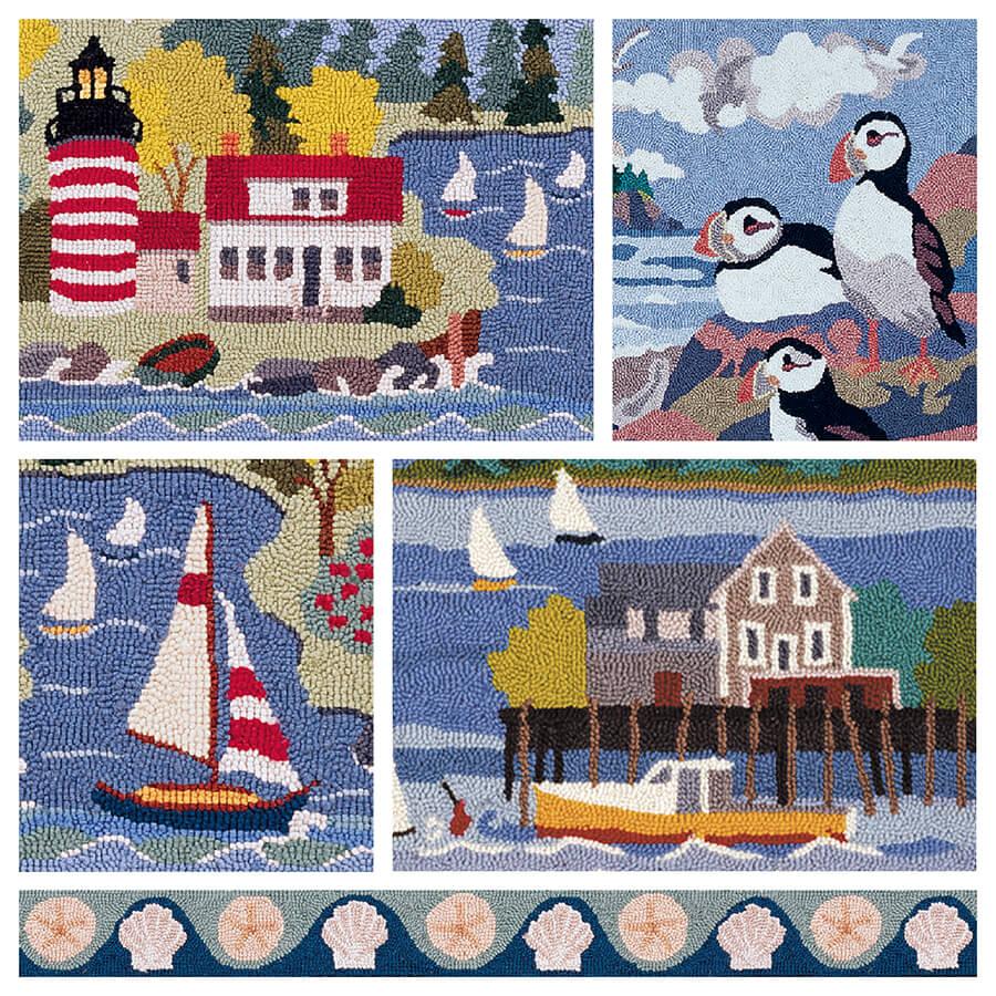 claire murray - coastal village hand hooked rugs . XYYNEKY