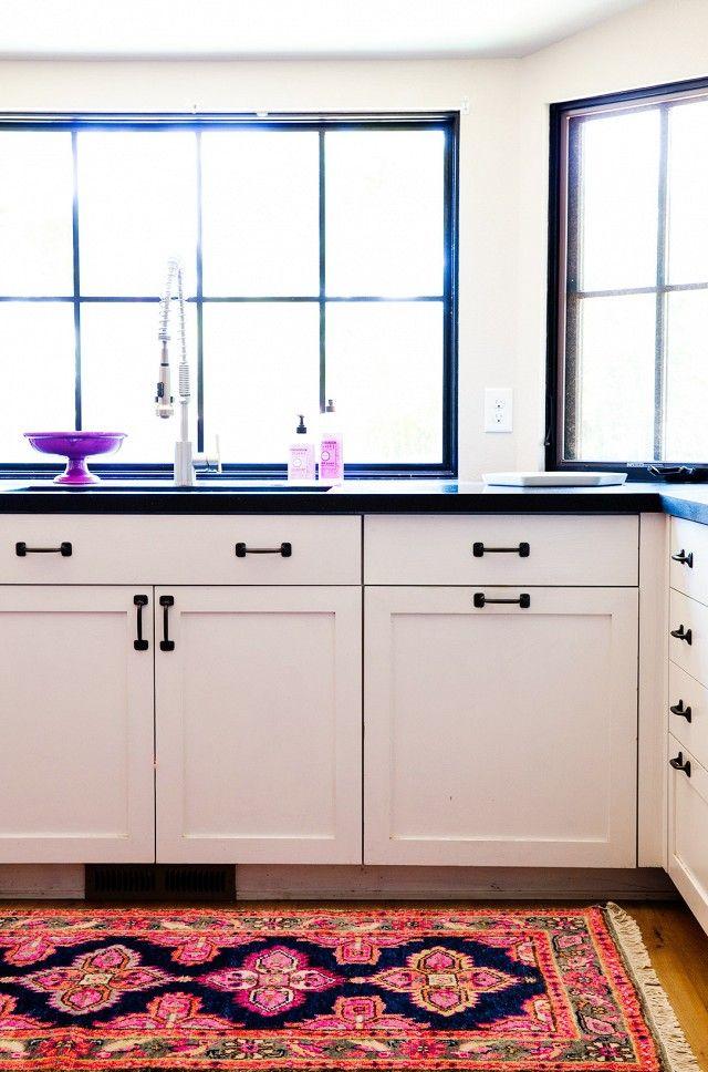 colorful kitchen rug ideas, black and white kitchen KMQDIUB