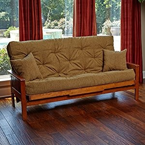 comfortable futon bed memory foam futon mattress beige upholstery fabric with 2 matching pillows HTXSPDN