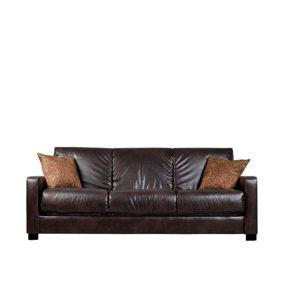 comfortable futon bed trace convert-a-couch brown renu leather futon sofa sleeper, $535.99, u003c BVVUQOB