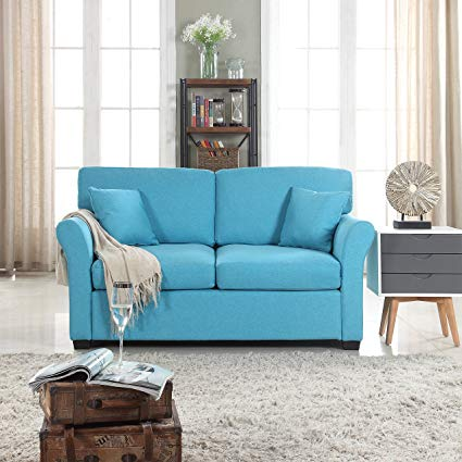 comfortable loveseat divano roma furniture classic and traditional ultra comfortable linen  fabric loveseat - IXVMDKD
