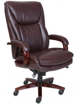 comfortable office chair la z boy edmonton bonded leather office chair coffee brown TDYMGTO