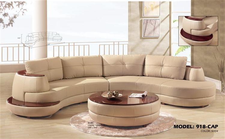 contemporary 3 piece sectional sofa with mahogany armrest EZEPSBO