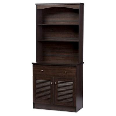 Contemporary hutch agni modern and contemporary buffet and hutch kitchen cabinet - dark brown UBUTXQJ