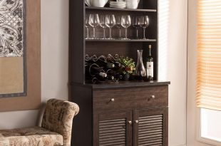 Contemporary hutch baxton studio agni dark brown wood buffet with hutch LHUEBFR