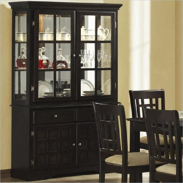 Contemporary hutch dining room glass front china cabinet hutch withglass doors deep cappuccino  contemporarycabinets HEOWWXP