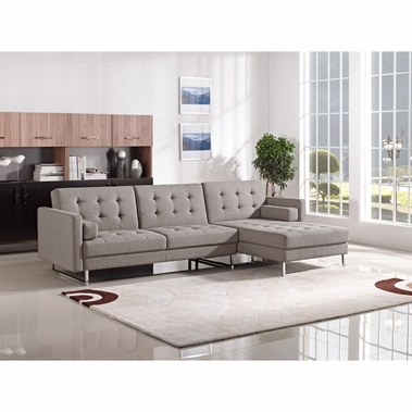 Contemporary sectional sofas divani casa smith modern brown fabric sectional sofa VRGUYKJ