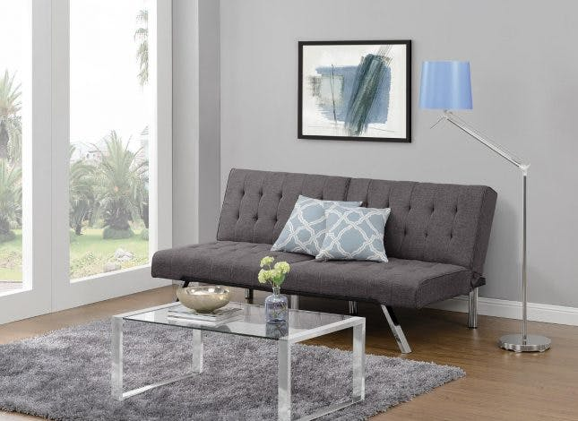 convertible sofas for living room dhp emily convertible linen futon ($242): this stylish gray sofa quickly  folds OULURGH