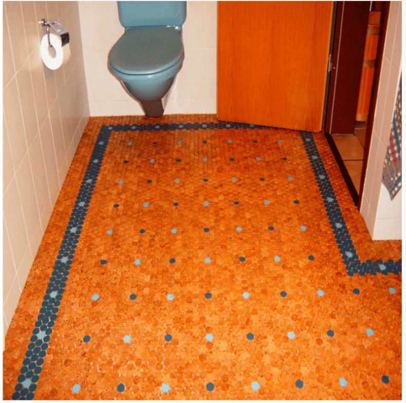 cork tile flooring orange and blue cork tiles in a bathroom JBQMKHA