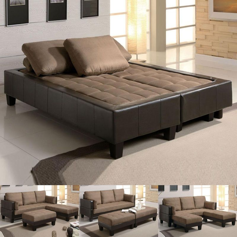 couch sofa bed fulton tan microfiber convertible sofa bed couch sleeper 2 ottoman  sectional set DZWWVYI
