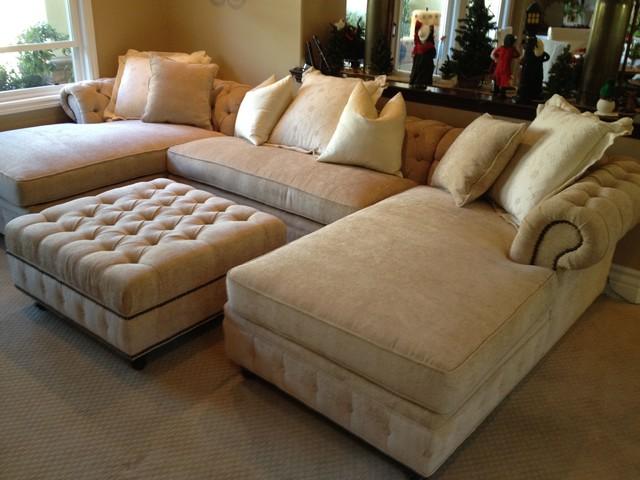 custom sectional sofa kenzie style - chesterfield custom sectional sofas traditional-family-room TEFTFFH